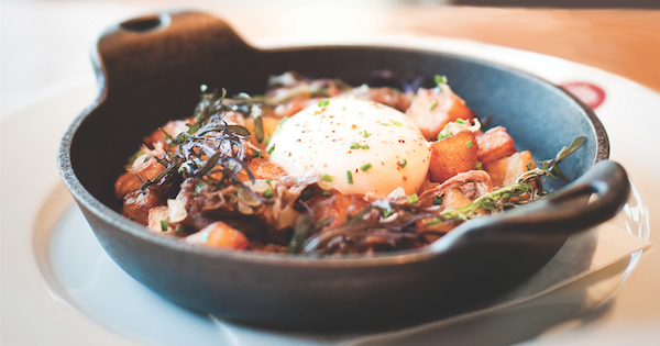 Recipe: Turkey Breakfast Hash with Poached Egg from db Bistro
